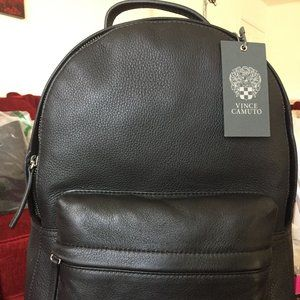 VINCE CAMUTO Pebbled Leather Pouch Pocket Backpack
